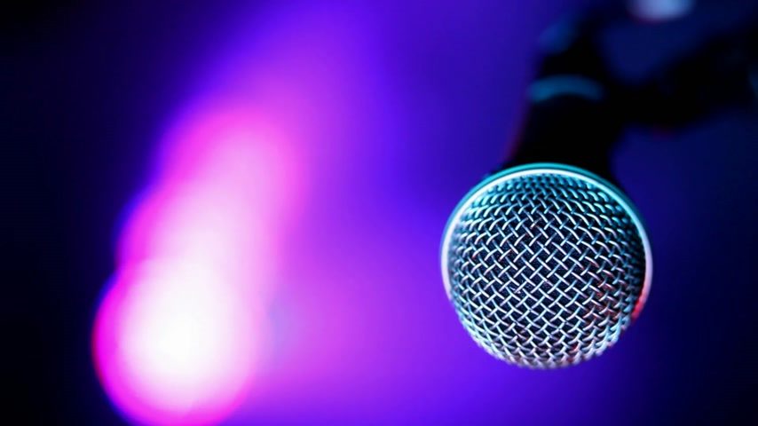 lighting equipment : Microphone and concert lights Stock Footage