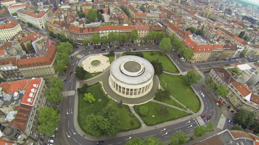 hırvatistan : Two scenes of aerial view on House of Art in Zagreb Stok Video