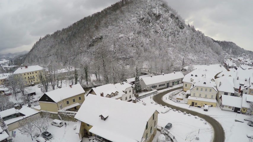 slovenya : Camera flying over Kamnik, town in Slovenia.