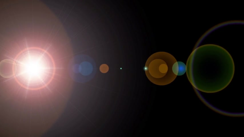 aberration : 3d rendering of lens flares with stars using as background Stock Footage