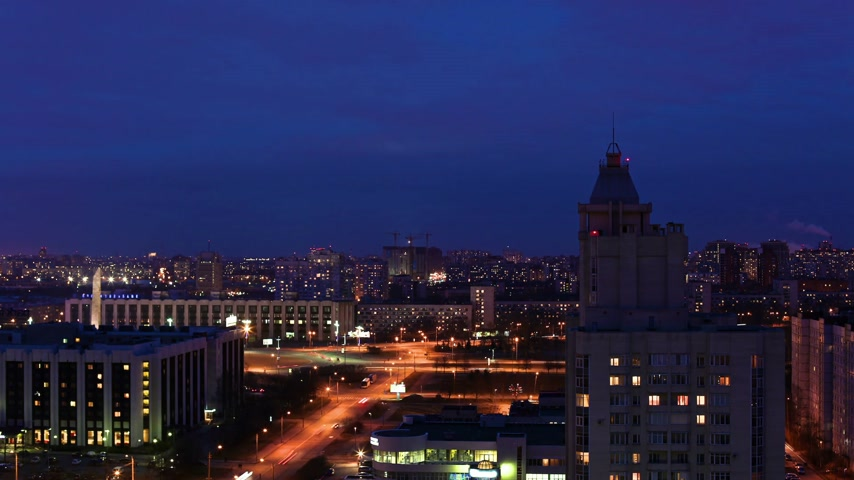святой : big city at night, aerial view, timelapse