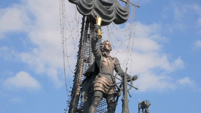 MOSCOW - AUGUST 17, 2018: Close up of Peter the Great statue by Zurab Tsereteli floating against blue sky in Moscow, Russia