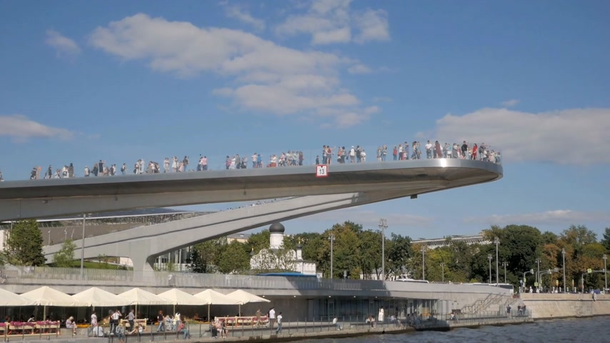 MOSCOW - AUGUST 17, 2018: Floating bridge of Zaryadie park, 70 meter structure without support extended above Moskva river gathering crowds of tourists in Moscow, Russia