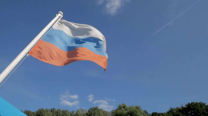 Flying flag of Russian Federation against blue sky and green trees