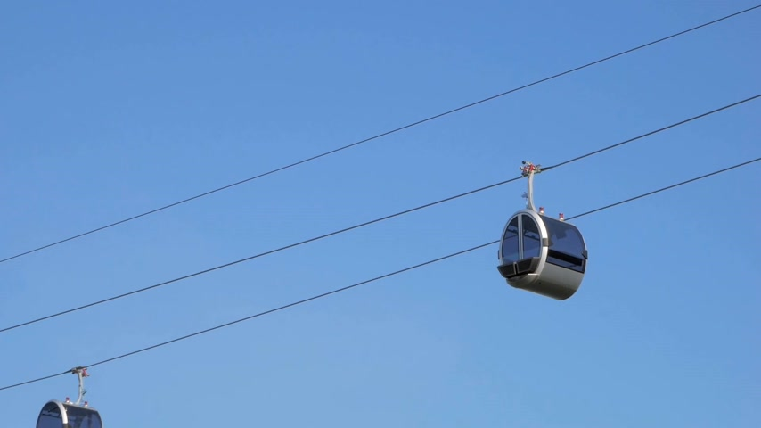 Close up of two funicular carriages slowly moving in the air to each other
