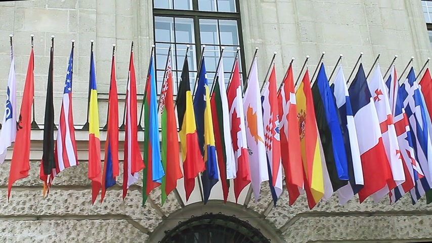 coalition : Flags of different countries of the international community, summit in Vienna