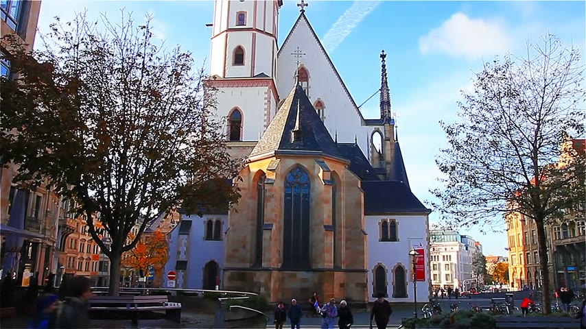 johann : A modern building in front of the Church of St. Thomas in Leipzig. Johann Sebastian Bach worked here from 1723 until his death