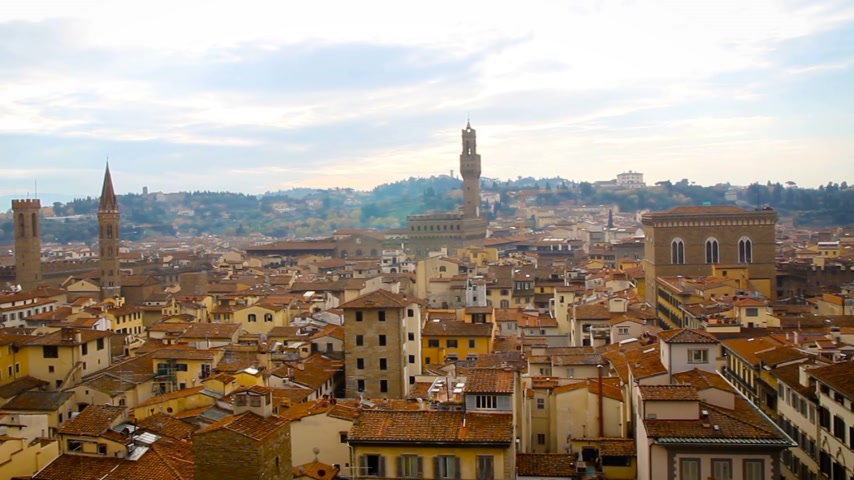 reneszánsz : Beautiful Florentine landscape. Palazzo Vecchio and the red roofs of Florence, Italy