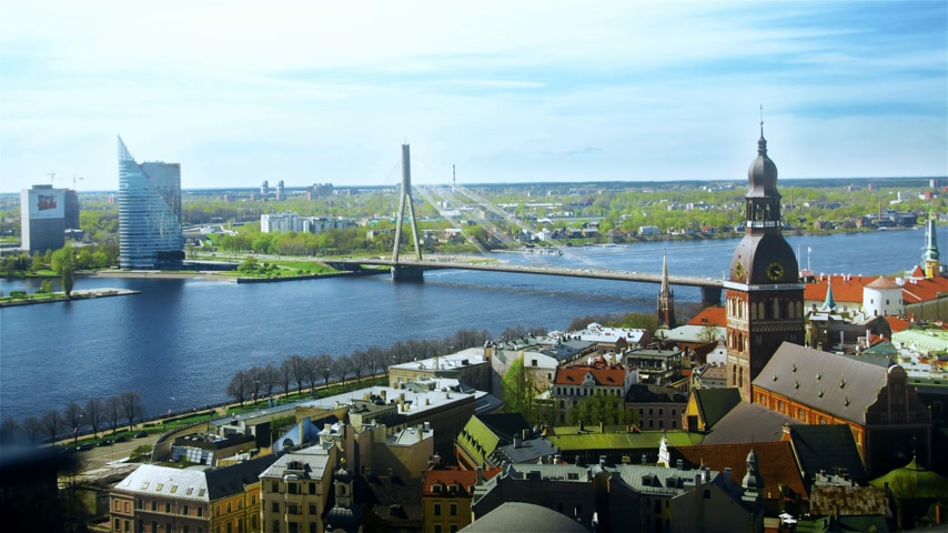 lutheran : Aerial view of the center of Riga. Peter, Latvia. time-lapse
