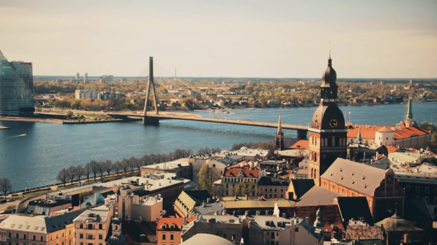 lutheran : Aerial view of the center of Riga from the church of St. Peter, Latvia.