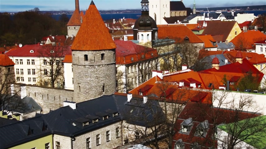 видя : Beautiful architecture of the old town of Tallinn Estonia Стоковые видеозаписи
