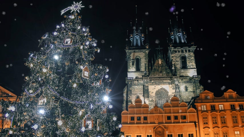 csehország : Christmas tree near the Tyn Church in Prague Stock mozgókép