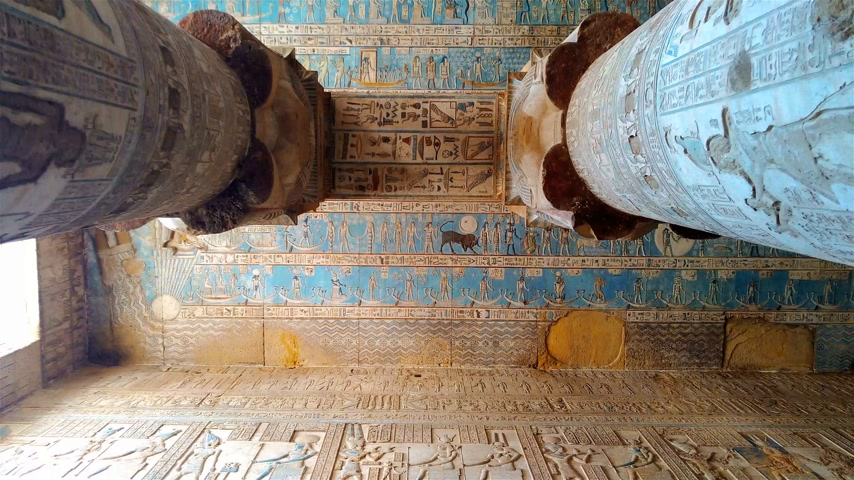 nil : Beautiful interior of the Temple of Dendera or the Temple of Hathor. Egypt, Dendera, Ancient Egyptian temple near the city of Ken Stok Video