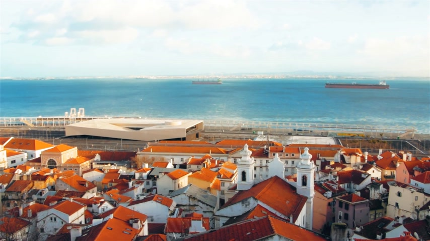 Ancient architecture of Lisbon, Portugal, cityscape, city views Stockvideo
