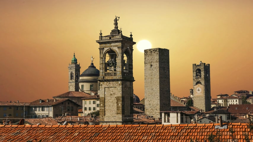 Beautiful architecture of the old city of Bergamo Italy
