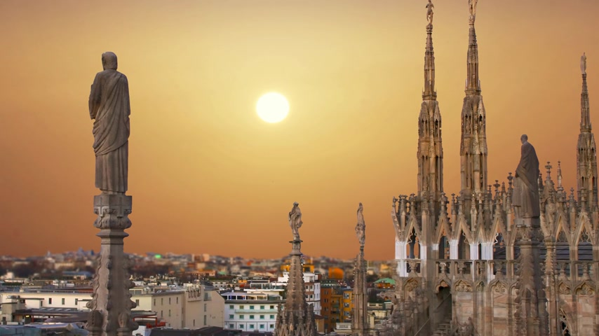Milan Italy, view of the city from the terrace of the Duomo.