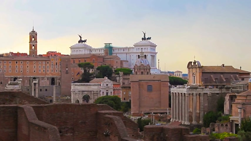 Evening Rome, view of the Roman Forum