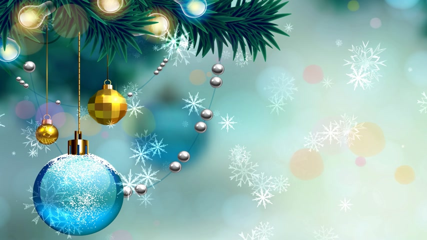 festive christmas background with balls and snowballs.