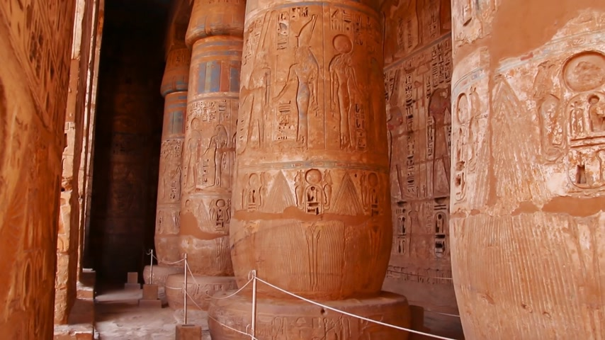 культ : Beautiful ancient Temple of Medina-Habu. Egypt, Luxor. Стоковые видеозаписи