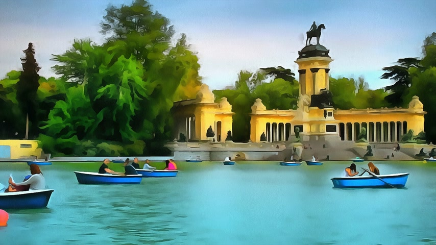 real madrid : Tourists and citizens relax and swim in boats in the park of Buen Retiro in Madrid.