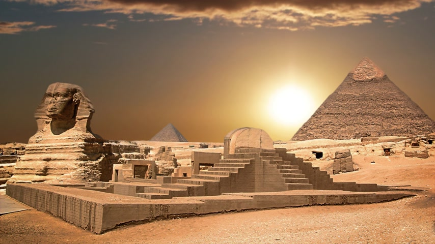esculpida : Ancient sphinx and pyramids, symbol of Egypt
