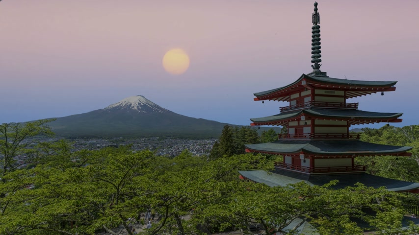 ba : Japanese temple and Mount Fuji view