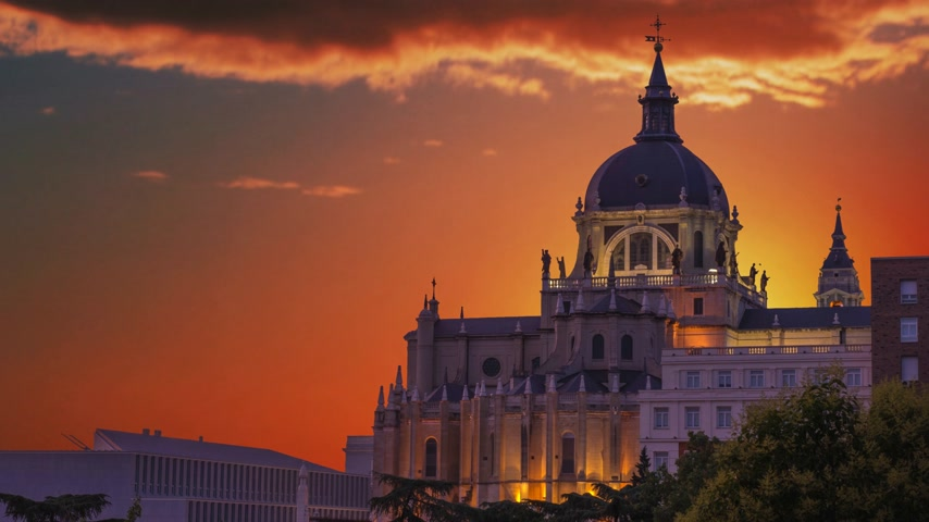 real madrid : The majestic dome of the Almudena Cathedral in Madrid. Spain