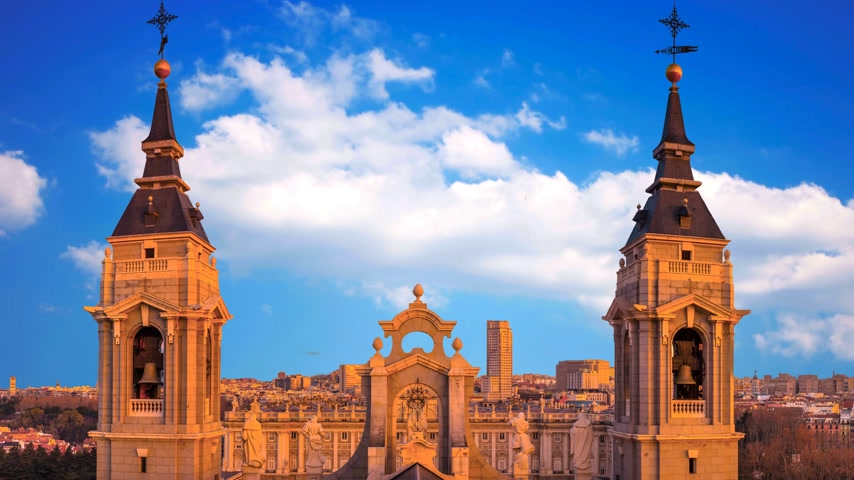 real madrid : Beautiful view of the cathedral of Almudena in Madrid. Spain. Stock Footage