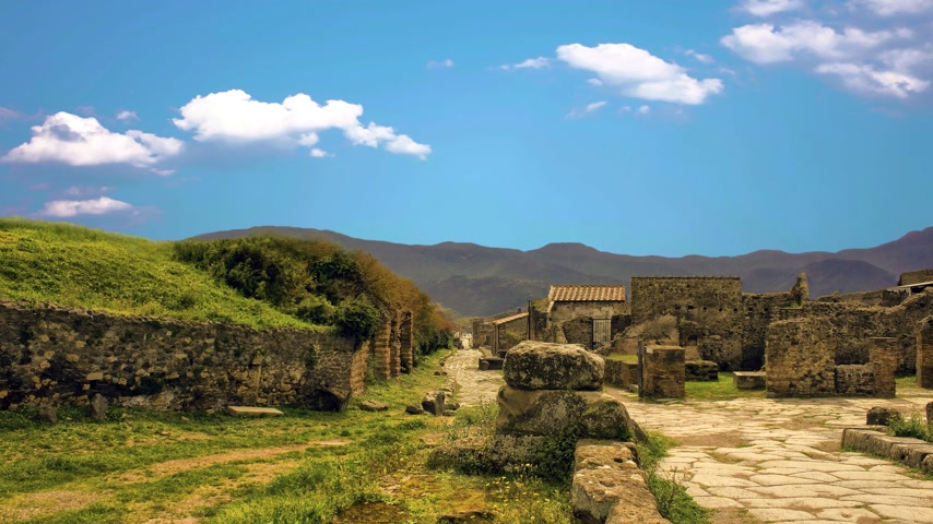 elpusztított : The city of Pompeii, destroyed in 79 BC. the eruption of Mount Vesuvius