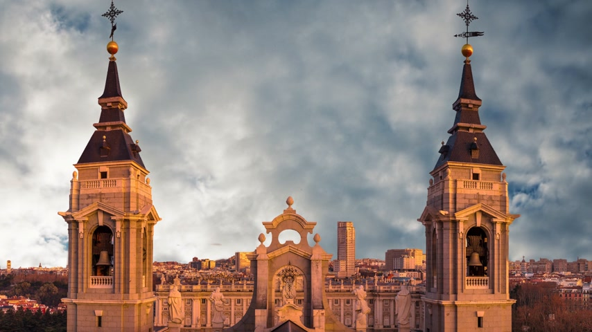 real madrid : Beautiful view of the towers of the cathedral of Almudena in Madrid. Spain.
