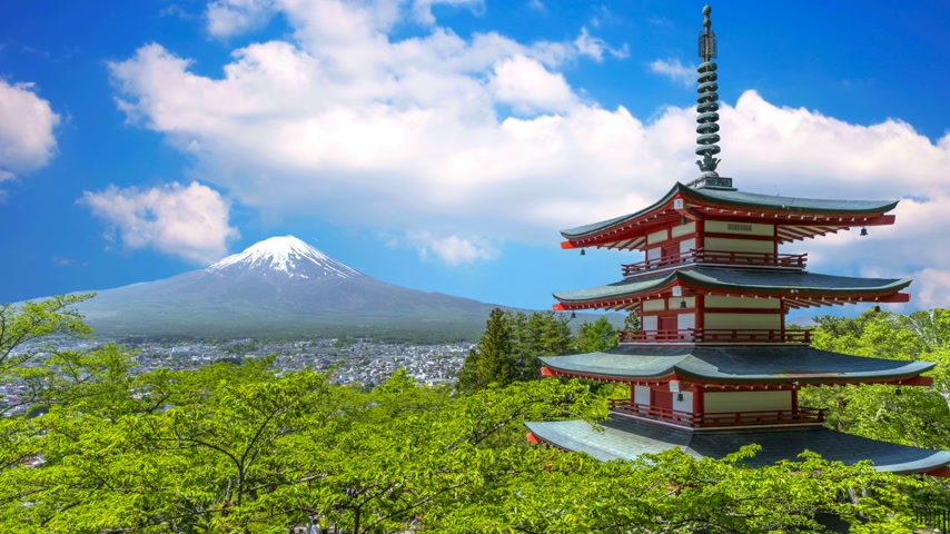 vytesaný : Japanese temple and Mount Fuji view