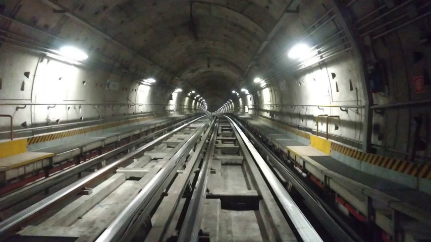 palmo : Train moving in a tunnel in the city metro Vídeos