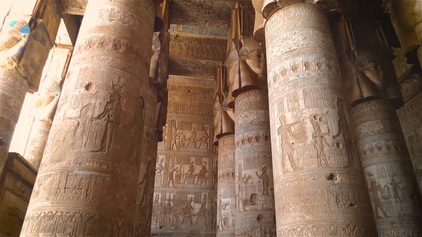 esculpida : Temple of Hathor. Egypt, Dendera, near the city of Ken.