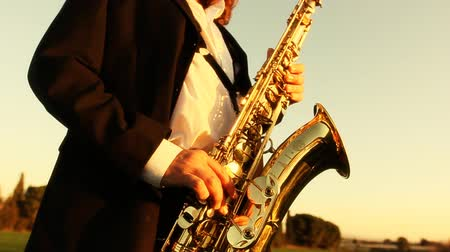 saxofone : man play instrumental jazz on golden saxophone with beautiful landscape