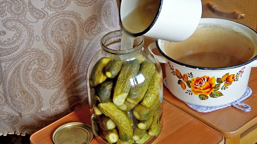 preservação : Fill brine environmentally friendly cucumbers for pickling at home