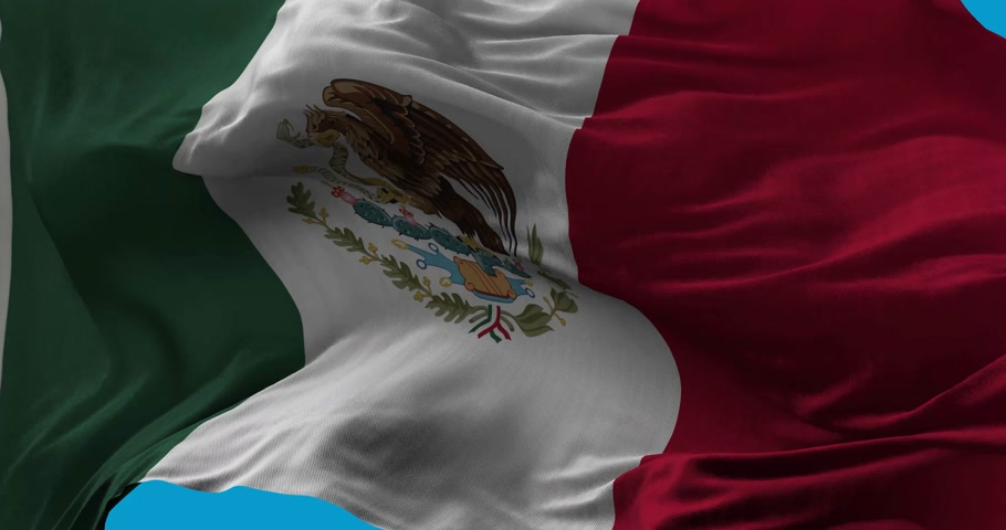 sas : National Flag of  Mexico waving in the wind slow motion Seamless Loop Animation