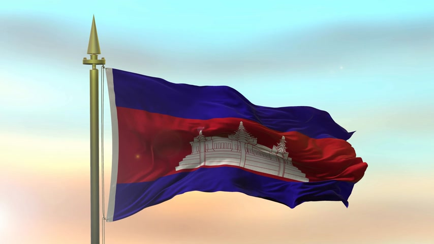 National Flag of  Cambodia waving in the wind against the sunset sky background slow motion Seamless Loop Animation