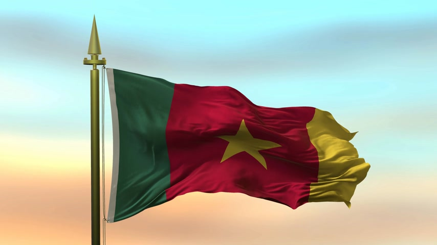 National Flag of  Cameroon waving in the wind against the sunset sky background slow motion Seamless Loop Animation