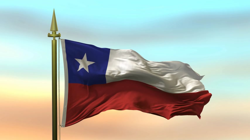 National Flag of  Chile waving in the wind against the sunset sky background slow motion Seamless Loop Animation