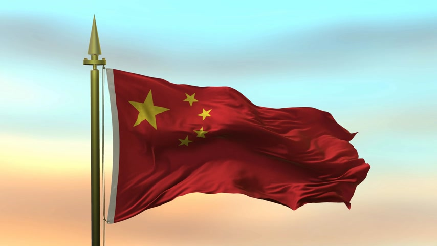 National Flag of  China waving in the wind against the sunset sky background slow motion Seamless Loop Animation