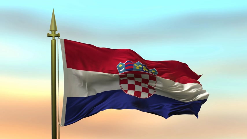 National Flag of  Croatia waving in the wind against the sunset sky background slow motion Seamless Loop Animation