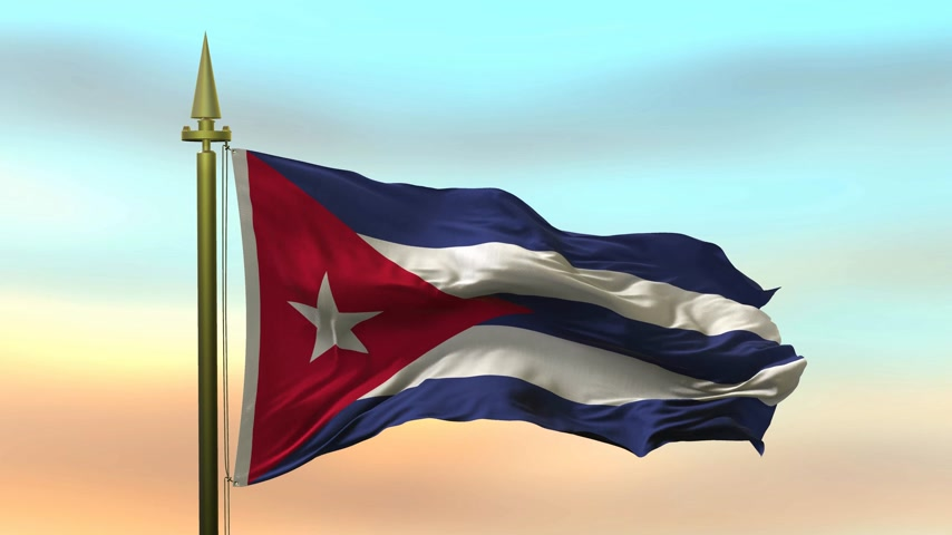 godło : National Flag of  Cuba waving in the wind against the sunset sky background slow motion Seamless Loop Animation