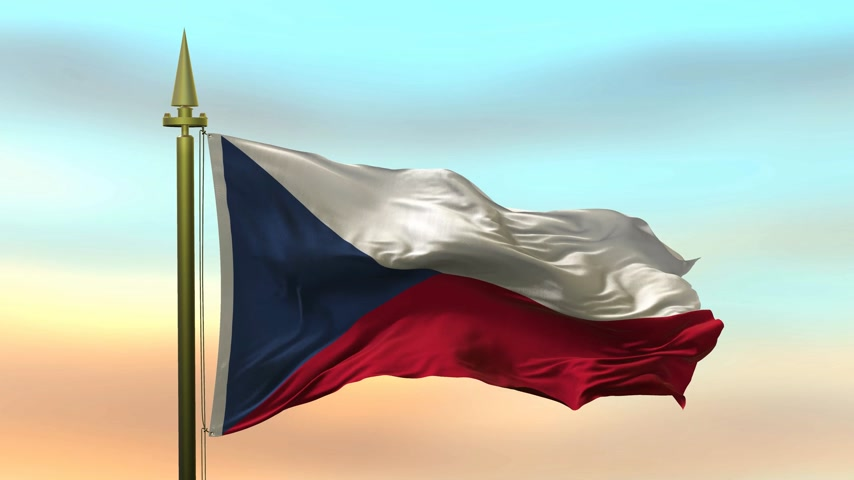 National Flag of  Czech Republic waving in the wind against the sunset sky background slow motion Seamless Loop Animation