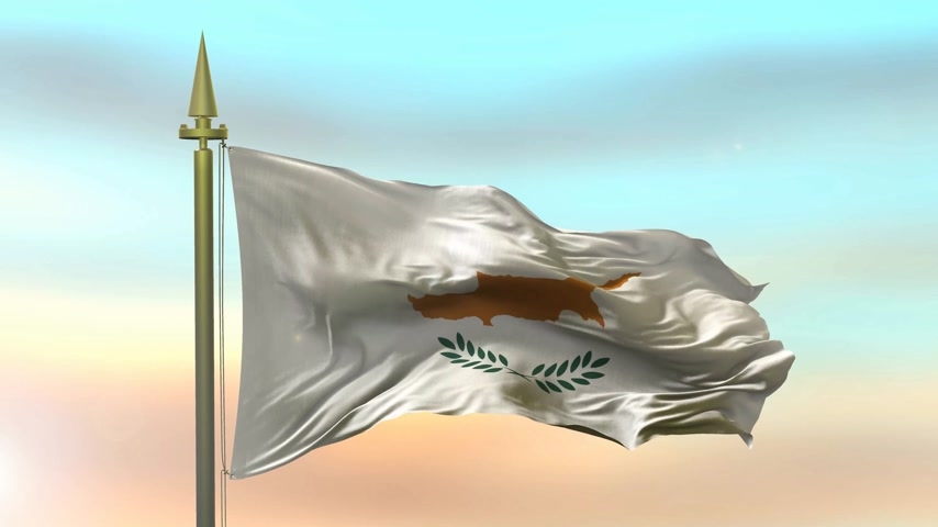 National Flag of  Cyprus waving in the wind against the sunset sky background slow motion Seamless Loop Animation