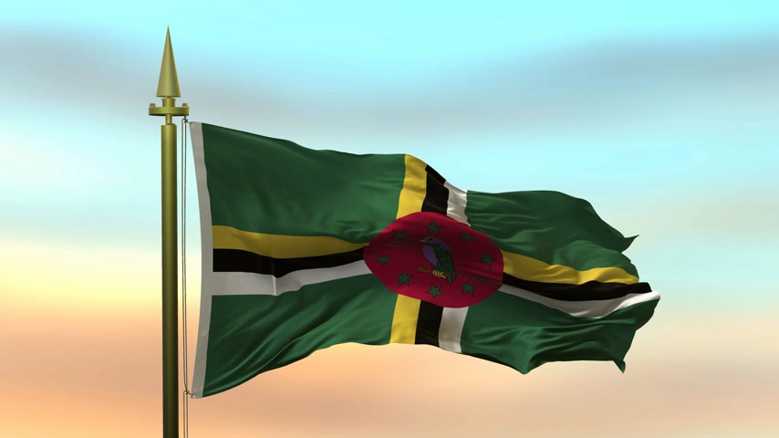 National Flag of  Dominica  waving in the wind against the sunset sky background slow motion Seamless Loop Animation