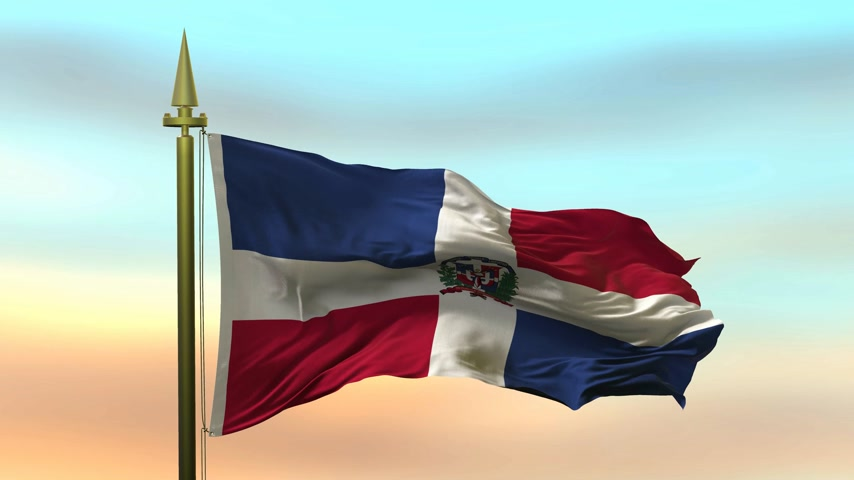 dominikana : National Flag of  Dominican Republic  waving in the wind against the sunset sky background slow motion Seamless Loop Animation Wideo