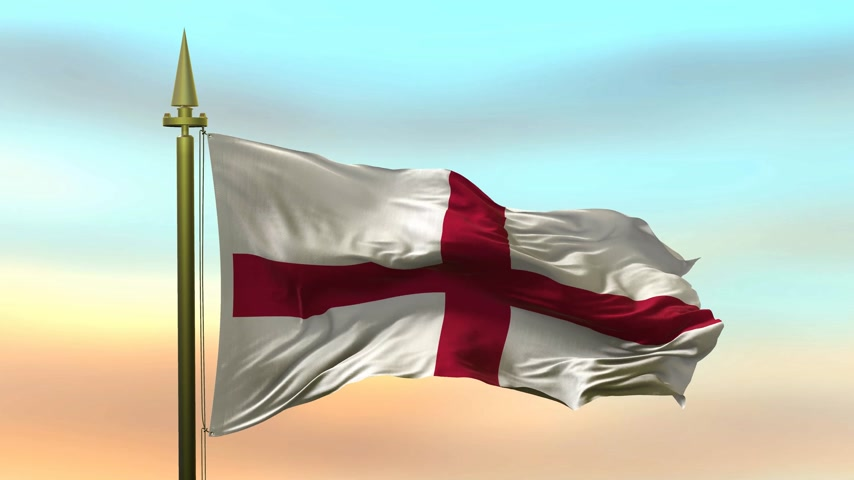 National Flag of England waving in the wind against the sunset sky background slow motion Seamless Loop Animation