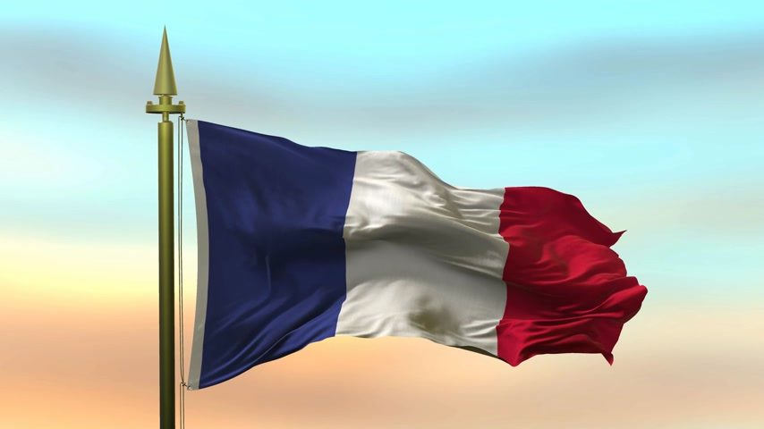 National Flag of  France  waving in the wind against the sunset sky background slow motion Seamless Loop Animation