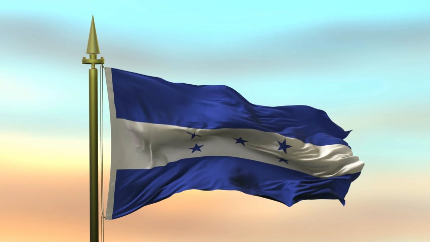 National Flag of  Honduras  waving in the wind against the sunset sky background slow motion Seamless Loop Animation