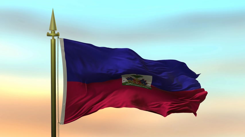 National Flag of  Haiti waving in the wind against the sunset sky background slow motion Seamless Loop Animation